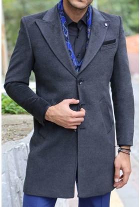 Wessi Erkek Geniş Yaka Diz Üstü Füme Palto