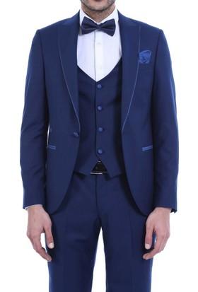 Wessi Yaka İnce Biyeli Koyu Mavi Damatlık Takım Elbise