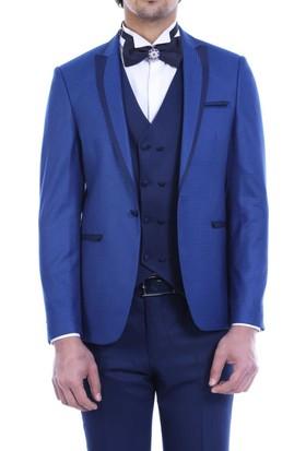 Wessi Ceket Desenli Yelekli Mavi Damatlık