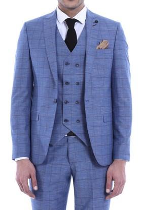 Wessi Ekose Yelekli Çelik Mavi Takım Elbise