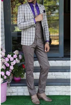 Wessi Ceket Ekose Pantolon Yelek Takım Elbise