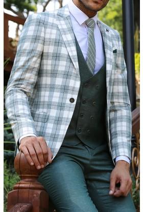 Wessi Ceket Ekose Yelek Pantolon Yeşil Takım Elbise