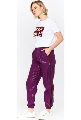 Eka Yanı Şeritli Cepli Keten Pantolon