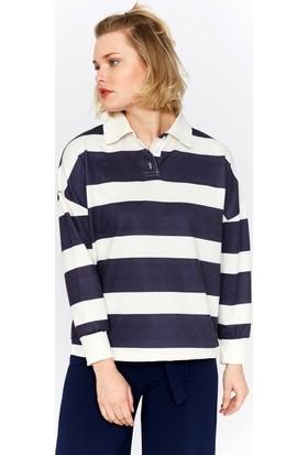 Eka Polo Yaka Çizgili Sweatshirt