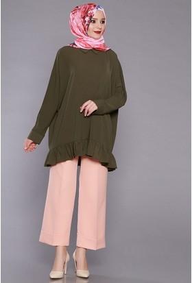 Zemin Giyim Kadın Beli Lastikli Duble Paça Pantolon-5061