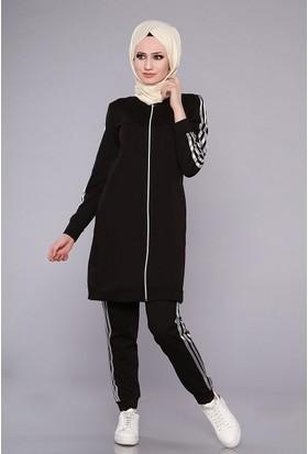 Zemin Giyim Fermuarlı Kolları Şeritli Eşofman Takımı-2304