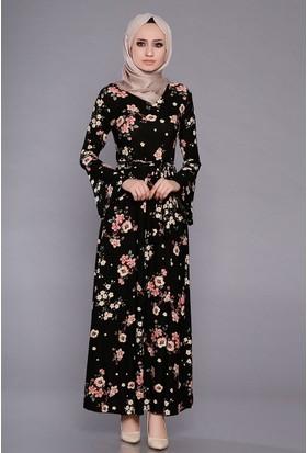 Zemin Giyim Kadın Büyük Çiçekli Kolları İspanyol Elbise-2567