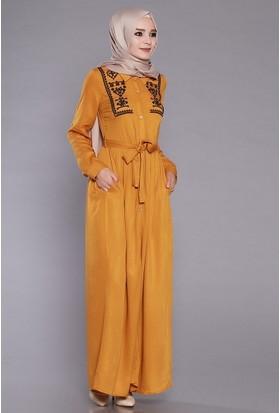 Zemin Giyim Kadın Düğmeli Nakışlı Elbise-1116