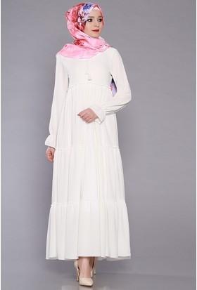 Zemin Giyim Kadın Kolları Lastikli Fırfırlı Elbise-2070