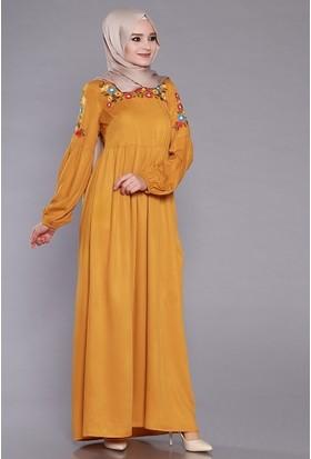 Zemin Giyim Kadın Omuz Nakışlı Elbise-1115