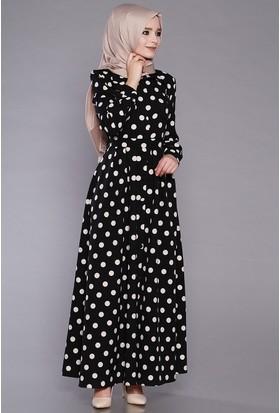 Zemin Giyim Kadın Puantiyeli Cepli Elbise-E5009