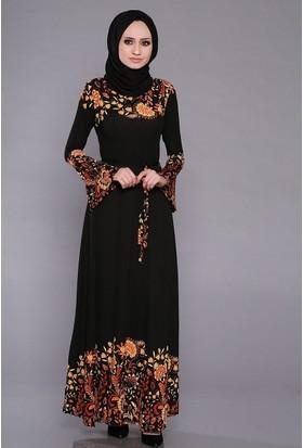 Zemin Giyim Kadın Yaka Ve Etekleri Çiçekli Elbise-2567