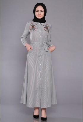 Zemin Giyim Kadın Yakası Nakışlı Çizgili Elbise-2570