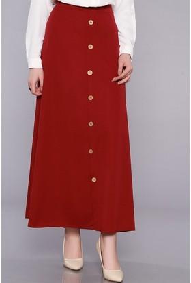 Zemin Giyim Kadın Önü Düğmeli Çan Etek-2088