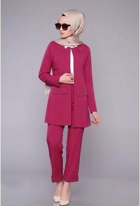 Zemin Giyim Kadın Zımbalı Ceketli Takım-440