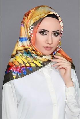 Zemin Giyim Dijital Tivil Yaprak Desenli Eşarp-6-15