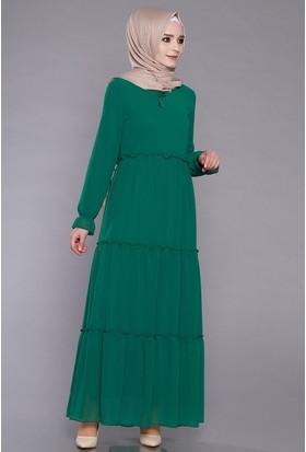 Zemin Giyim Kadın Parça Kumaşlı Fırfırlı Elbise-3019