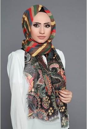 Zemin Giyim Dijital Baskılı Etnik Desenli Şal-1-02