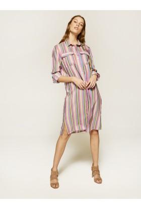 Faik Sönmez Renkli Çizgili Elbise 36457