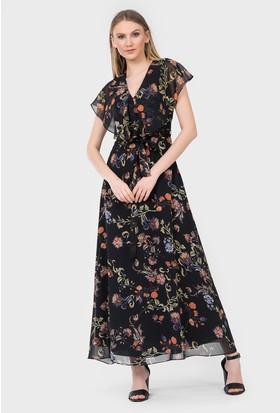 İroni Çiçek Desenli Uzun Şifon Elbise 51841232 Siyah
