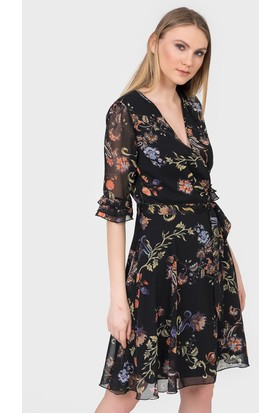 İroni İspanyol Kol Çiçekli Şifon Elbise 50421232 Siyah