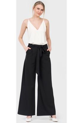 İroni Krep Bol Paça Siyah Pantolon 16911220 Siyah