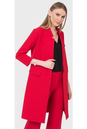 İroni Cep Kapaklı Kırmızı Uzun Ceket 6443891 Kırmızı