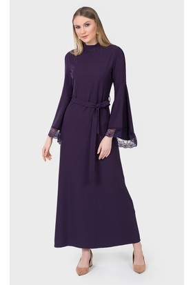 İroni Dantelli Krep Mor Uzun Elbise 51741220 Mor