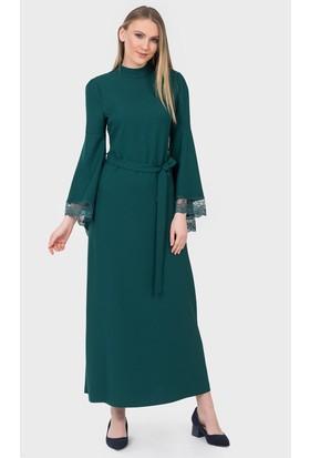 İroni Dantelli Krep Zümrüt Uzun Elbise 51741220 Zümrüt