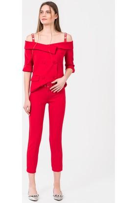 İroni Kemerli Dar Paça Pantolon 1695891 Kırmızı