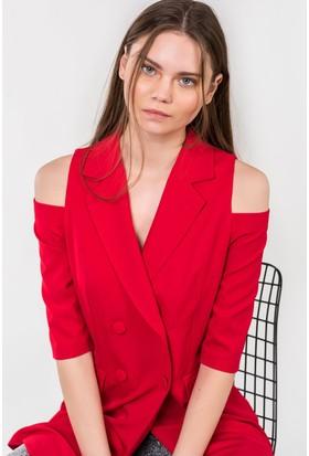 İroni Omuz Dekolteli Blazer Ceket 6457891 Kırmızı
