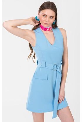 İroni Kemerli V Yaka Elbise 5172891 Mavi