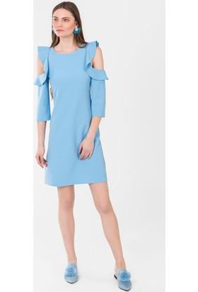 İroni Omuz Fırfırlı Elbise 5147891 Mavi