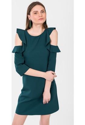 İroni Omuz Fırfırlı Elbise 5147891 Zümrüt