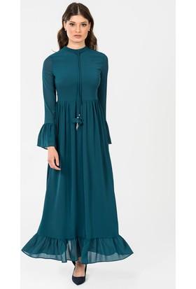 İroni Kol Ve Etek Ucu Volanlı Uzun Elbise 51881237 Petrol