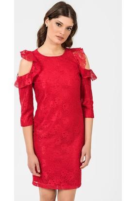 İroni Kol Detaylı Dantel Elbise 51951239 Kırmızı