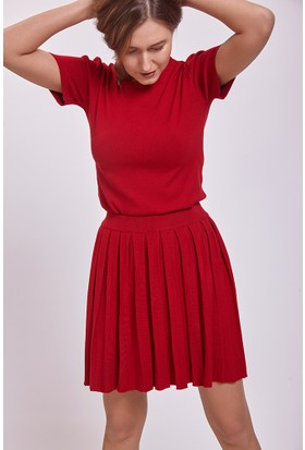 Efgima Kadın Kısa Kollu Triko Tshirt Kırmızı