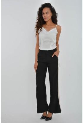 Rodin Hills Kadın Krem Yanlar Şeritli Kumaş Pantolon