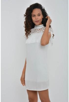 Rodin Hills Kadın Beyaz Dantelli Göğsü Püsküllü Şile Kısa Elbise 9430