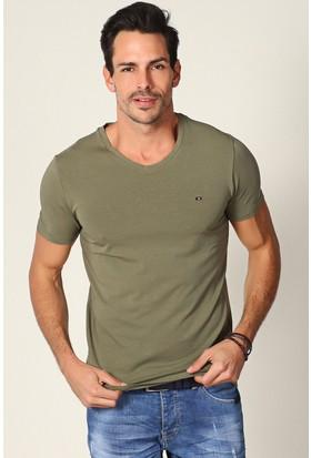 Philip Loren Haki Logolu V Yaka T-Shirt Ce18B7063R08