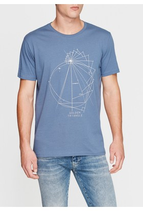 Mavi Erkek Baskılı İndigo Tshirt
