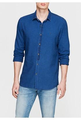 Mavi Erkek Cepsiz İndigo Gömlek
