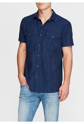 Mavi Erkek Çift Cepli İndigo Gömlek