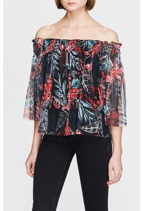 Mavi Kadın Flamingo Baskılı Siyah Bluz