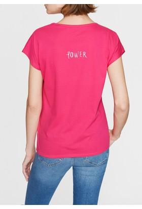 Mavi Kadın Kalp Baskılı Pembe Tshirt