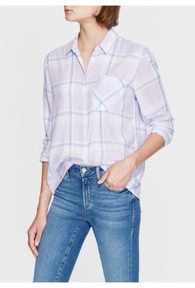 Mavi Kadın Kareli Lila Gömlek