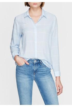 Mavi Kadın Kareli Mavi Gömlek