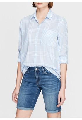 Mavi Kadın Kareli Vintage Mavi Gömlek