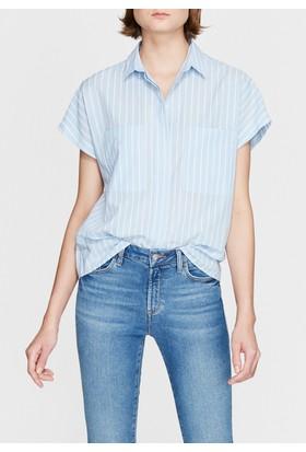 Mavi Kadın Kısa Kollu Mavi Gömlek