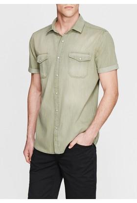 Mavi Erkek Kısa Kollu Yeşil Gömlek